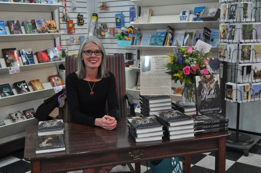 Sarah Kennedy at the signing table